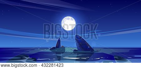 Night Seascape View, Ocean Or Sea Nature Landscape With Shallow Or Land With Rocks In Dark Water Und