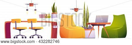 Coworking Office With Table, Chairs, Laptop, Lamps And Plants. Vector Cartoon Set Of Furniture For O