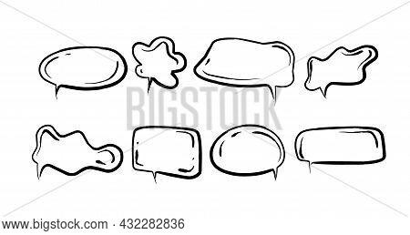 Cartoon Frames For Text, Hand Drawn Speech Bubbles.
