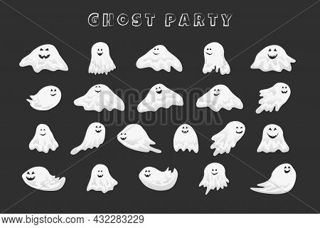 Smiling Halloween Ghosts With Scary Face, Cartoon Vector Illustration For Stickers And Party Decor.