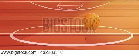 Basketball Ball Lying On Wooden School Gymnasium Floor With White Markup. Court Interior, Sports Are