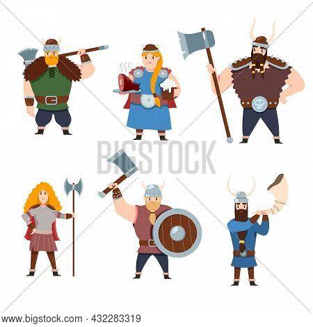 Set Of Scandinavian Mythology Characters On White Background. Cartoon Vector Illustration. Vikings,