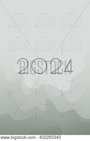 2024 Calendar With Fog Gray  Gradient Fluid Wave Shapes. Vertical Annual Template For Print And Digi