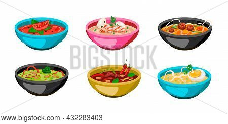 Set Of Colorful Bowls Of Soup. Cartoon Vector Illustration. Hot Gazpacho, Tomato, Chicken Soup With