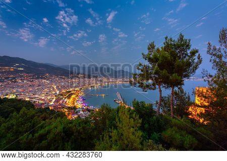 Alanya city scenery by the mediterranean sea at dusk. Turkey