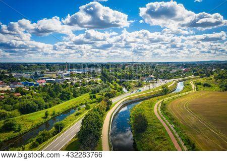 Aerial scenery of the Radunia canal in Pruszcz Gdanski, Poland