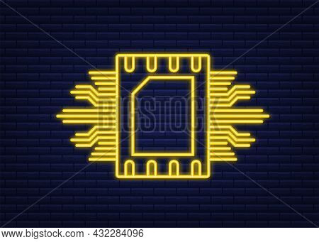 Rfid Radio Frequency Identification. Technology Concept. Digital Technology. Neon Style. Vector Stoc