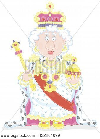 Queen In Solemn Royal Dress With Symbols Of Royalty At An Official Festive Ceremony, Vector Cartoon