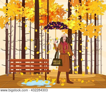 Young Fashion Woman With Umbrella In The Autumn Park City, Trendy Clothes Street Fashionable Style O