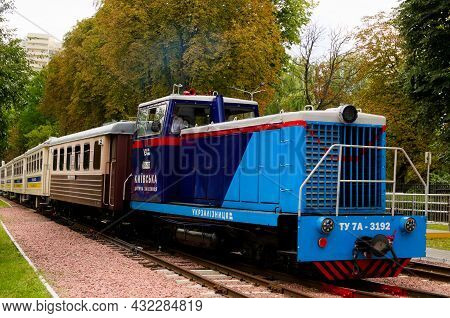 Kyiv, Ukraine-august 22, 2021:detailed View Of The Diesel Locomotive With Several Cars Which Are App