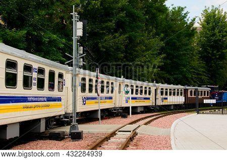Kyiv, Ukraine-august 22, 2021:children's Train On The C-track In Park In Beautiful Sunny Day. Diesel