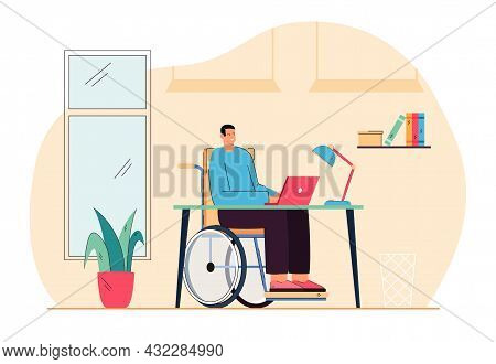 Cartoon Man In Wheelchair Working At Computer. Flat Vector Illustration. Disabled Person Working Onl