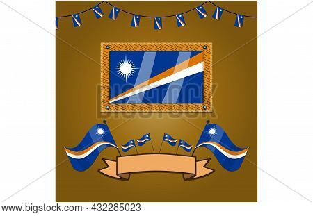 Marshall Flags On Frame Wood, Label, Simple Gradient And Vector Illustration