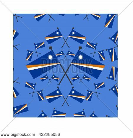 Vector Illustration Of Pattern Marshall Flags And  Blue Color Background.