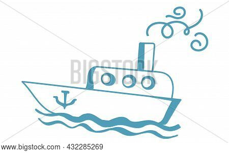 Children's Drawing Of A Boat, Isolated On A White Background. Children's Doodles
