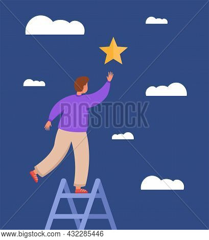 Male Character On Ladder Reaching For Star. Man With Hopes And Dreams Catching Star, Looking For Car