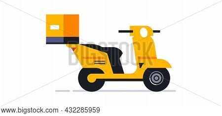 Motorcycle For An Online Home Delivery Service. Transport For Delivering Parcels And Food To Your Ho