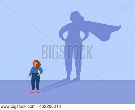 Female Business Leader With Strong Brave Shadow. Successful Super Woman Or Superhero Flat Vector Ill