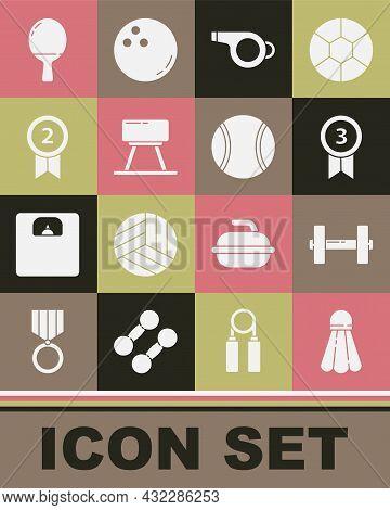 Set Badminton Shuttlecock, Dumbbell, Medal, Whistle, Pommel Horse, Racket For Playing Table Tennis A