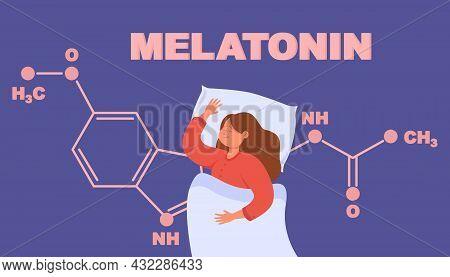 Isolated Drawing Of Girl Sleeping And Melatonin Chemical Formula. Hormone Growth During Sleep Flat V
