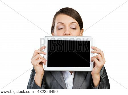 Businesswoman Holding Tablet Computer With Blank Screen. Beautiful Woman With Closed Eyes Showing Ta