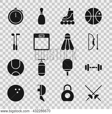Set Fencing, Dumbbell, Bow And Arrow Quiver, Roller Skate, Bathroom Scales, Golf Club, Stopwatch And