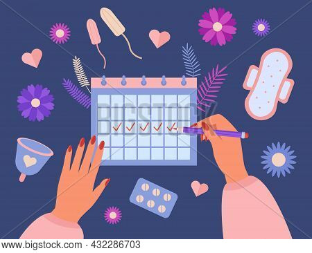 Hands Of Woman Tracking Period In Menstruation Calendar. Girl With Menses, Menstrual Cup, Pills From