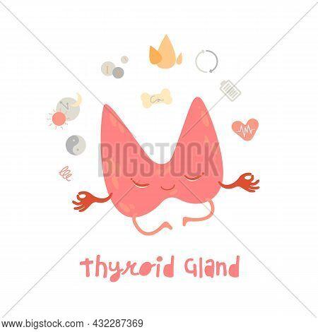 Healthy Thyroid Gland. Cartoon Character In Trendy Style. Healthcare, Anatomy, Medicine Image.