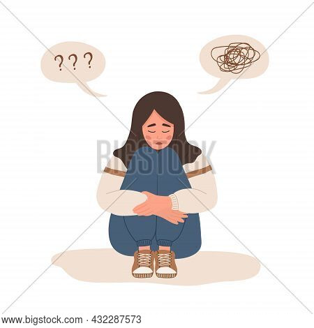 Mental Health Concept. Lonely Muslim Woman Sitting On Floor And Hugging Knees. Depressed Teenager Ne