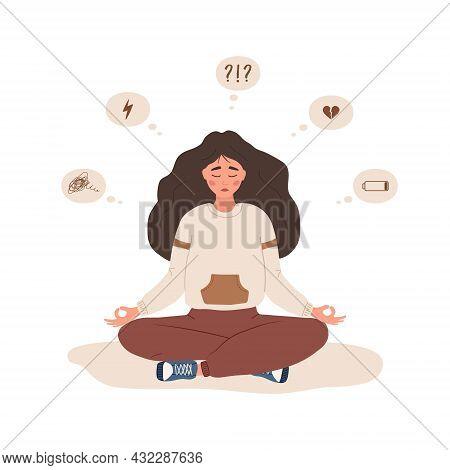 Mood Disorder. Sad Woman Sitting In Lotus Position. Mental Health. Symptoms Of Schizophrenia Or Psyc