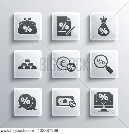 Set Money Percent, Percent Discount And Monitor, Magnifying Glass With, Coin, Discount Tag, Gold Bar