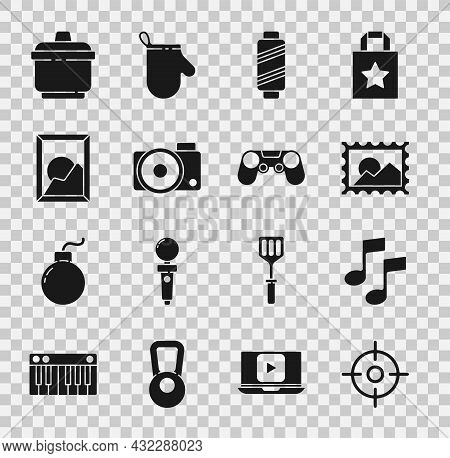 Set Target Sport, Music Note, Tone, Postal Stamp, Sewing Thread Spool, Photo Camera, Picture Landsca