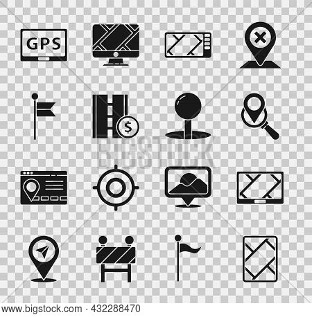Set Gps Device With Map, Search Location, Toll Road Traffic Sign, Location Marker, And Push Pin Icon