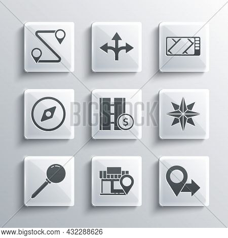 Set Location With Store, Wind Rose, Toll Road Traffic Sign, Push Pin, Compass, Route Location And Gp