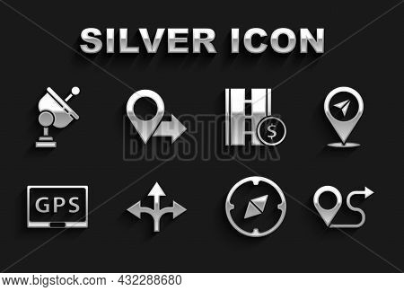 Set Road Traffic Sign, Location, Route Location, Compass, Gps Device With Map, Toll Road, Radar And