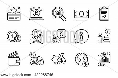 Finance Icons Set. Included Icon As Usd Coins, Bitcoin, Report Document Signs. Global Business, Bitc
