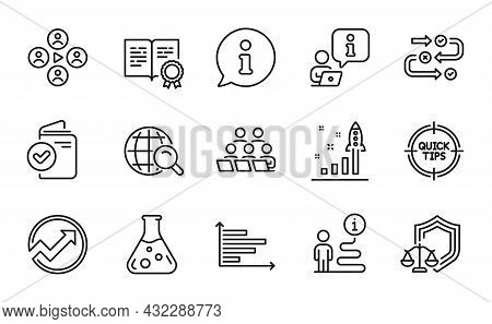 Education Icons Set. Included Icon As Justice Scales, Certificate, Internet Search Signs. Teamwork,