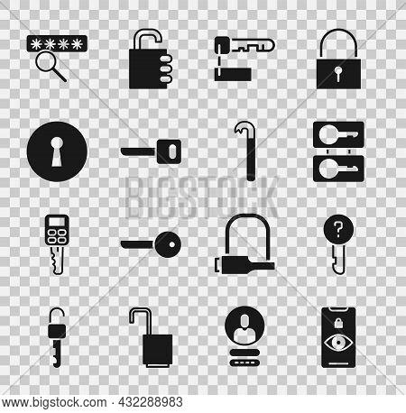 Set Eye Scan, Undefined Key, Casting Keys, Marked, Key, Keyhole, Password Protection And Crowbar Ico