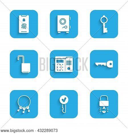 Set House Intercom System, Key, Broke Inside Of Padlock, Bunch Keys, Open, Old And Mobile With Finge