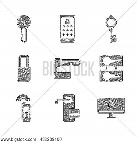 Set Marked Key, Digital Door Lock, Lock On Computer Monitor, Casting Keys, Car With Remote, Old And