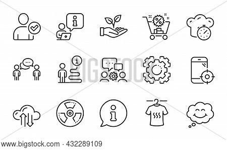 Business Icons Set. Included Icon As Cloud Sync, Cooking Timer, Smile Signs. Chemical Hazard, Engine