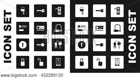 Set Digital Door Lock, Key Card, Marked Key, Lock Picks For Picking, Bicycle, House With And Keyhole