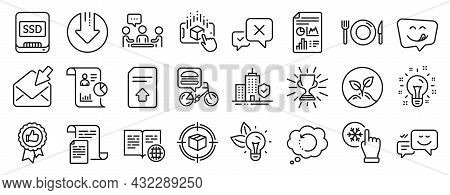 Set Of Business Icons, Such As Reject, Yummy Smile, Startup Icons. Report, Augmented Reality, Report