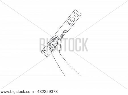One Continuous Line Drawing Of Man Holding Bubble Spirit Or Level Spirit. Handyman Tools Concept. Si