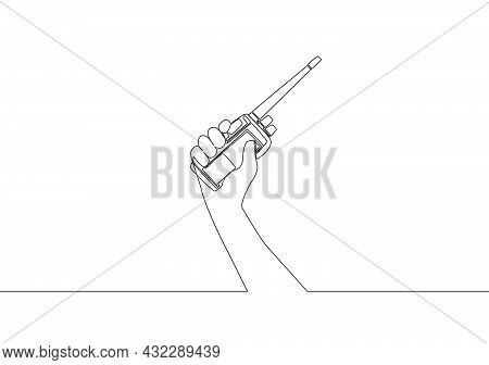 One Single Line Drawing Of Man Holding Walkie Talkie To Communicate. Communication Device Concept. C