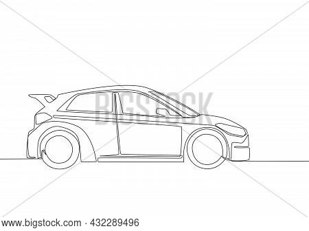 One Line Drawing Of Small Modern Hatchback Car. Urban City Vehicle Transportation Concept. Single Co