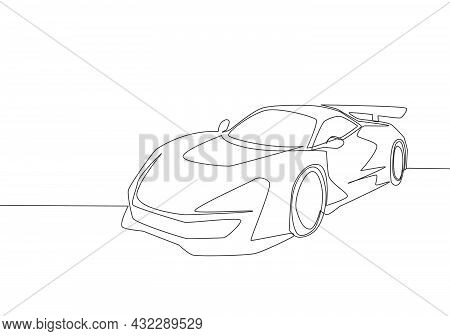 Single Line Drawing Of Racing And Rallying Luxury Sporty Car. Race Super Car Vehicle Transportation