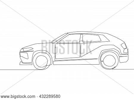 Continuous Line Drawing Of Tough Suv Car. Urban City Vehicle Transportation Concept. One Single Cont
