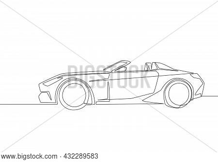 Continuous Line Drawing Of Rally And Racing Luxury Sporty Car. Super Car Vehicle Transportation Conc