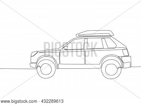 Continuous Line Drawing Of Tough Suv Car With Roof Rack. Adventure Vehicle Transportation Concept. O